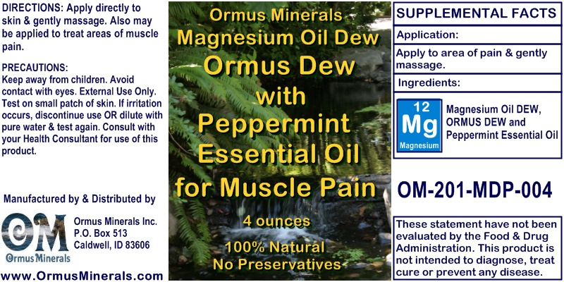 Ormus Minerals Magnesium Oil DEW Ormus Dew with Peppermint Essential Oil for Muscle Pain